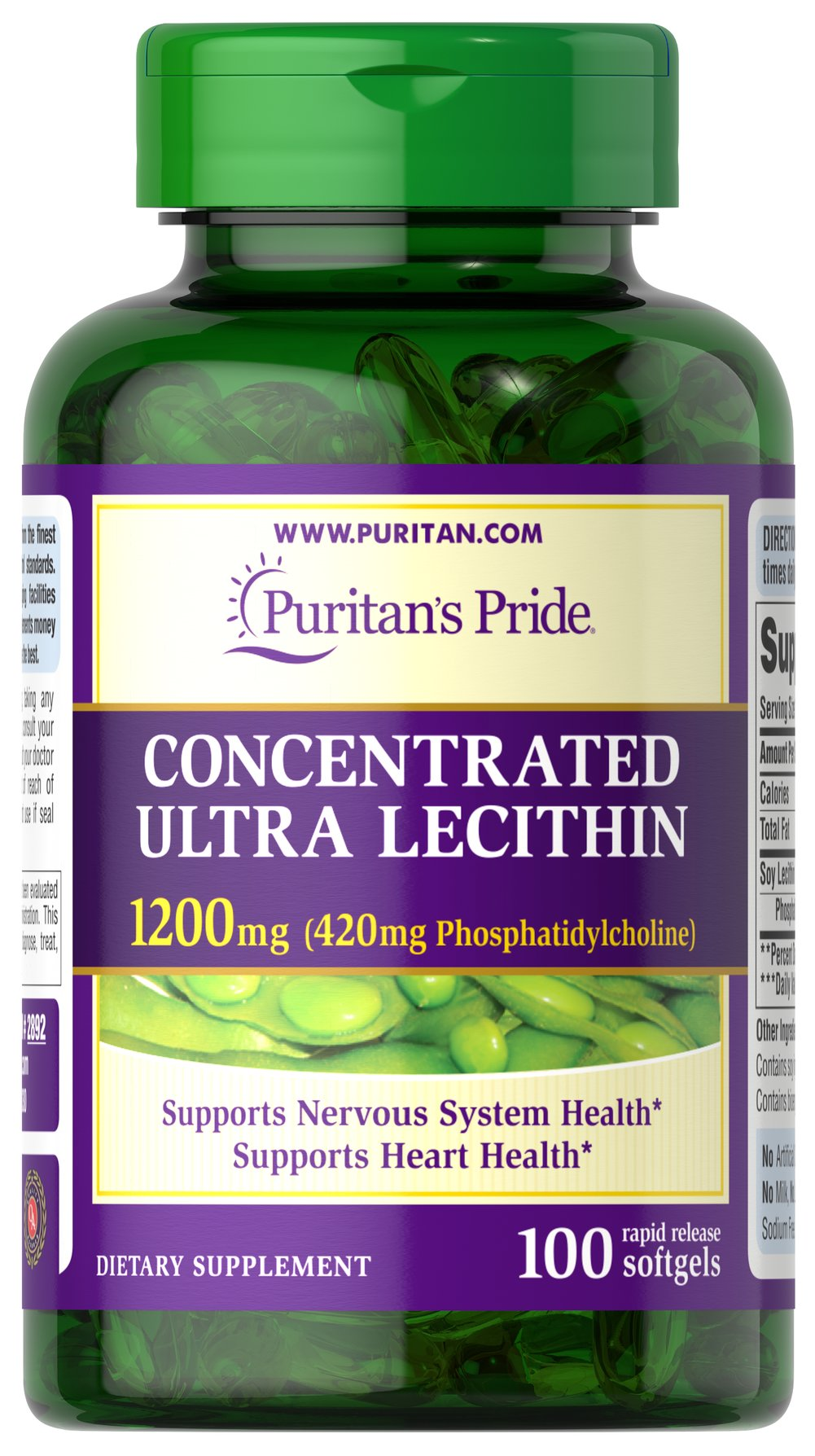 Concentrated Ultra Lecithin 1200 mg <p>Promotes healthy brain function**</p><p>Assists with cardiovascular health**</p><p>Contributes to a healthy nervous system**</p><p>Our highest potency Lecithin product to date++</p><p>One softgel provides you with a whopping 420 mg of naturally sourced Phosphatidylcholine, a vital part of the B Vitamin Complex.**</p> 100 Softgels 1200 mg $11.98