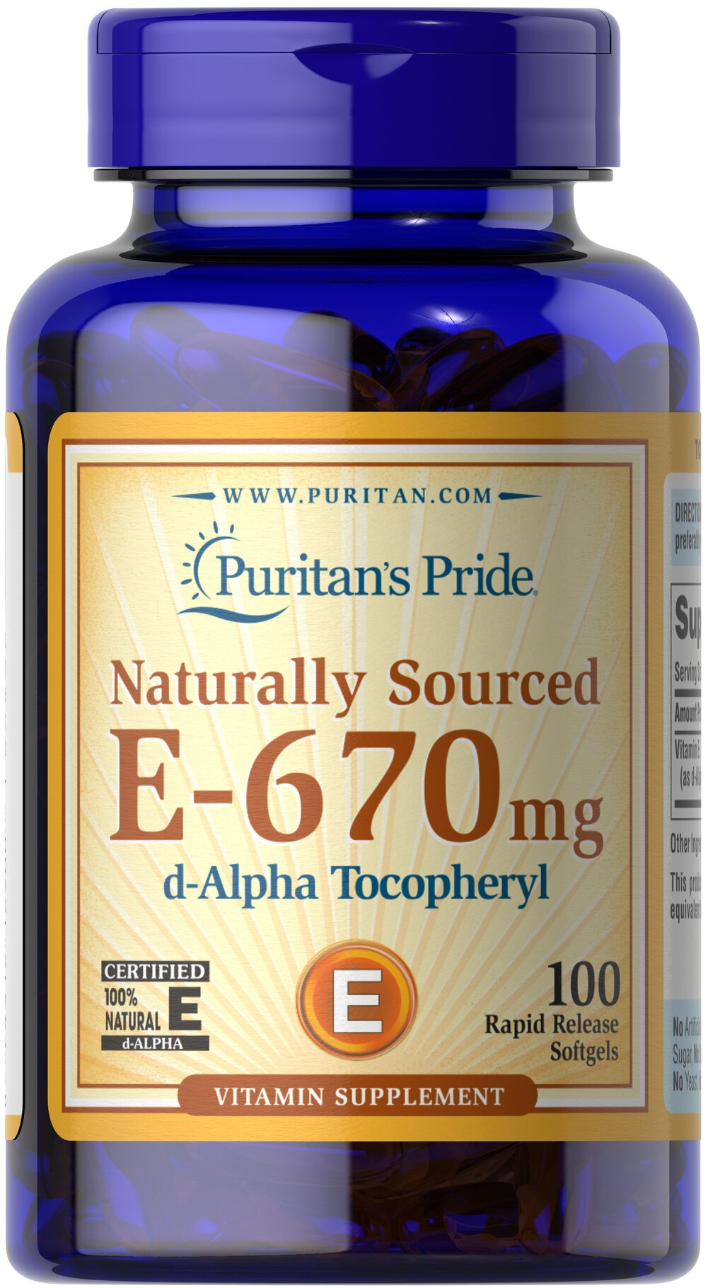 Vitamin E-100% 1000 IU Natural <p><strong>Vitamin E</strong> is a potent antioxidant that helps fight free radicals.** Studies have shown that oxidative stress caused by free radicals may contribute to the premature aging of cells.** Vitamin E also promotes immune function and helps support cardiovascular health.** Our Vitamin E is 100% natural and comes in a convenient to use softgel.</p> 100 Softgels 1000 IU $33.73