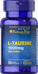 Taurine 1000 mg <p>Taurine is an amino acid found in muscles.  It is one of 20 amino acids (protein building blocks) and the second most abundant free amino acid in muscles.  Taurine plays a role in the control of ionic flux, thereby effecting anabolic processes.** Diet is a major source of this amino acid, but concentrations in foods and supplements can vary.  Our Taurine is made from premium ingredients and  a quality formulation.</p>  50 Caplets 1000 mg