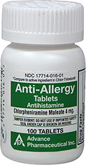 Anti-Allergy Antihistamine Chlorpheniramine Maleate 4 mg <p>Temporarily relieves these symptoms of hay fever or other respiratory allergies: runny nose, itchy throat, sneezing, and itchy, watery eyes.</p><p>Chlorpheniramine Maleate 4 mg.</p><p>Compare to the active ingredient in Chlor-Trimetron® Tablets</p> 100 Tablets 4 mg $8.29