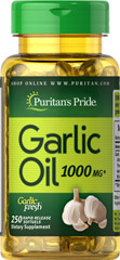Garlic Oil 1000 mg <p>Cholesterol Support**</p><p>Supports Cardiovascular Health**</p><p>Whether warding off evil spirits or flavoring sauces, Garlic has been known for its beneficial qualities. Natural ingredients in Garlic include alliin, allinase and allicin. Garlic promotes cardiovascular health and helps to maintain cholesterol levels that are already within the normal range.**</p> 250 Softgels 1000 mg $16.99