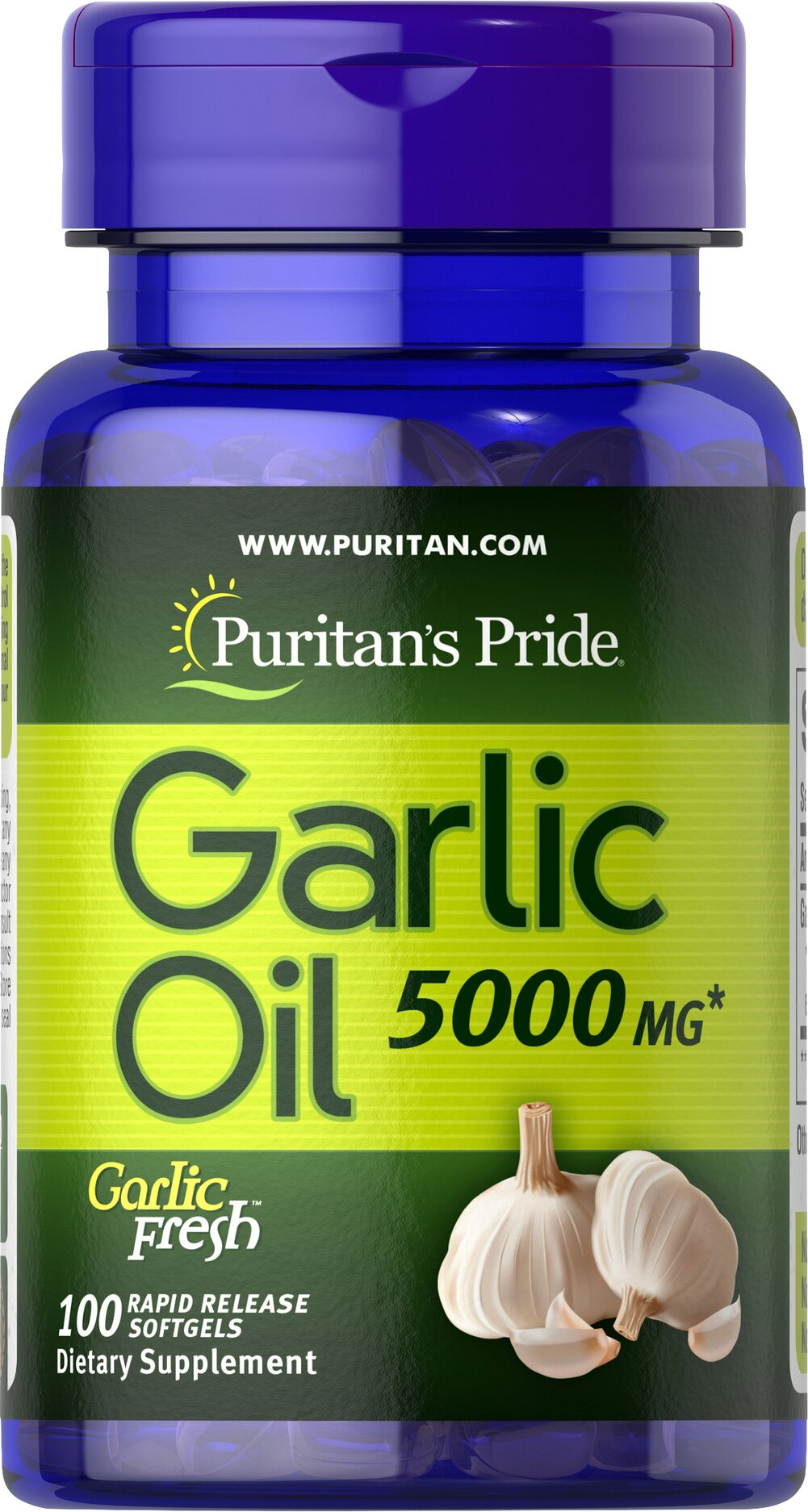 Garlic Oil 5000 mg <p>Cholesterol Support**</p><p>Supports Cardiovascular Health**</p><p>Whether warding off evil spirits or flavoring sauces, Garlic has been known for its beneficial qualities. Natural ingredients in Garlic include alliin, allinase and allicin. Garlic promotes cardiovascular health and helps to maintain cholesterol levels that are already within the normal range.**</p> 100 Softgels 5000 mg $8.99
