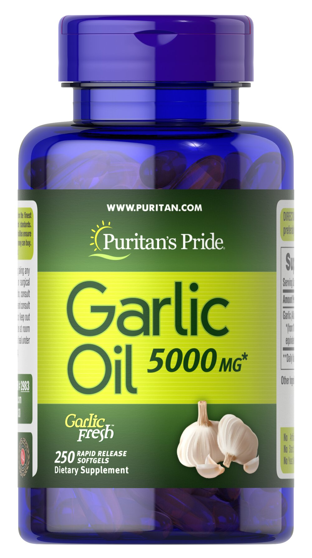 Garlic Oil 5000 mg <p>Cholesterol Support**</p><p>Supports Cardiovascular Health**</p><p>Whether warding off evil spirits or flavoring sauces, Garlic has been known for its beneficial qualities. Natural ingredients in Garlic include alliin, allinase and allicin. Garlic promotes cardiovascular health and helps to maintain cholesterol levels that are already within the normal range.**</p> 250 Softgels 5000 mg $23.99