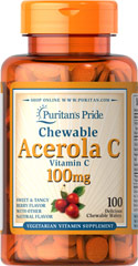Chewable Acerola C 100 mg <p>Vitamin C is essential to many functions in the body and is one of the leading vitamins for immune support.**</p><p>Offers superior antioxidant support.**</p><p>Supports healthy immune function and promotes well-being.**</p><p>Forms the molecular basis for healthy skin, hair and nails.**</p> 100 Chewables 100 mg $9.29