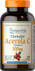 Chewable Acerola C 100 mg <p>Vitamin C is essential to many functions in the body and is one of the leading vitamins for immune support.**</p><p>Offers superior antioxidant support.**</p><p>Supports healthy immune function and promotes well-being.**</p><p>Forms the molecular basis for healthy skin, hair and nails.**</p> 500 Chewables 100 mg $36.99