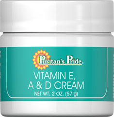 Vitamin E, A & D Cream <p>Puritan's Pride Vitamin E, A & D Cream is an excellent moisturizing emollient cream for dry, weathered skin.</p> 2 oz Cream