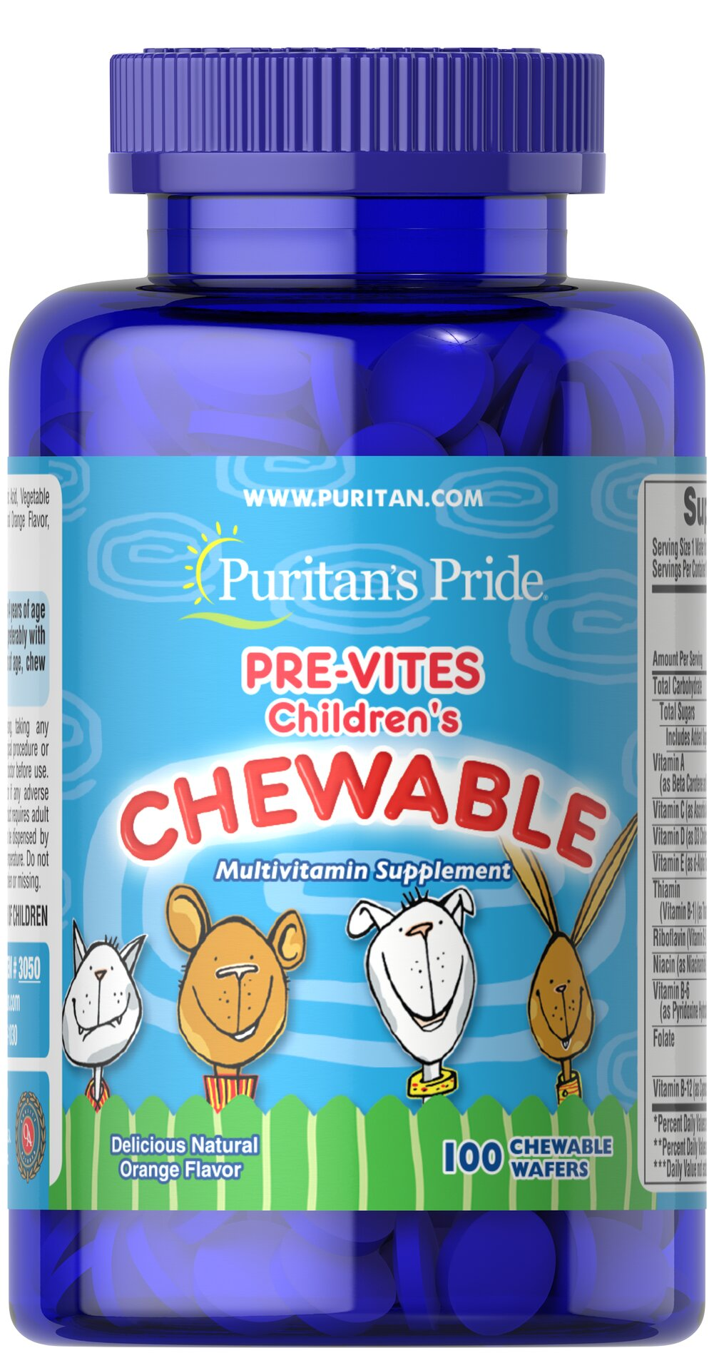 Pre-Vites Children's Multivitamin <p>Pre-Vites is the children's chewable multivitamin made with natural flavors. This delicious orange-flavored tablet provides active children with ten essential vitamins for proper growth and development. Preservative-free!</p> 100 Chewables  $8.09