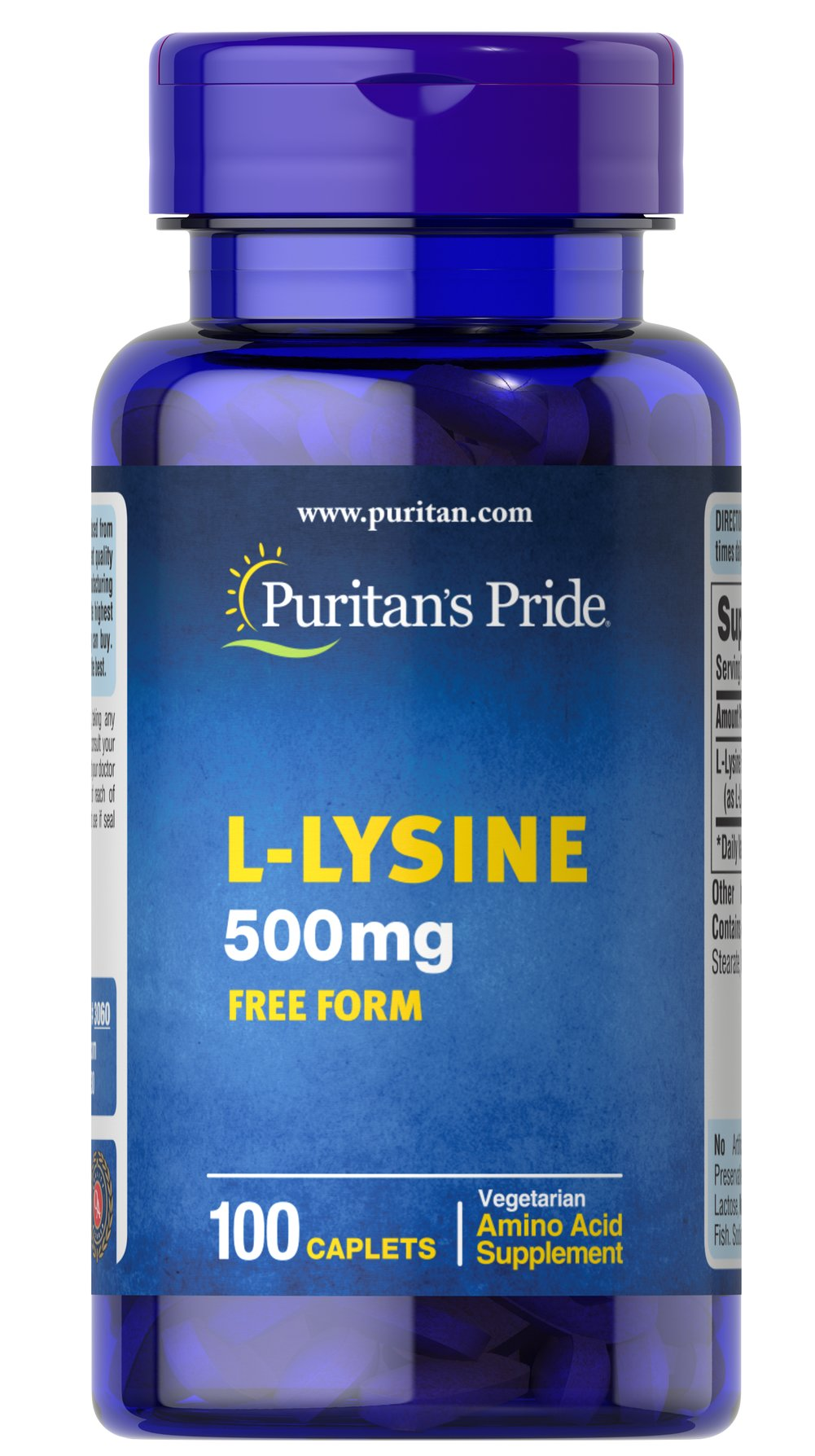 L-Lysine 500 mg <p>For Balanced Nutrition and Health**</p><p>Lysine is an indispensable amino acid that cannot be made by the body.** Amino acids form the basis for protein, which helps construct and maintain the critical structures in the body.** Lysine is also used for the health and integrity of skin.**</p> 100 Caplets 500 mg $5.99