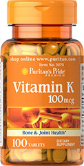 Vitamin K 100 mcg <p>Vitamin K is necessary for the formation of prothrombin, which is required for normal blood clotting.** Vitamin K is also a great companion to Calcium and Vitamin D supplements.</p> 100 Tablets 100 mcg $5.99