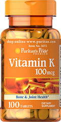 Vitamin K 100 mcg <p>Vitamin K is necessary for the formation of prothrombin, which is required for normal blood clotting.** Vitamin K is also a great companion to Calcium and Vitamin D supplements.</p> 200 Tablets 100 mcg $13.39