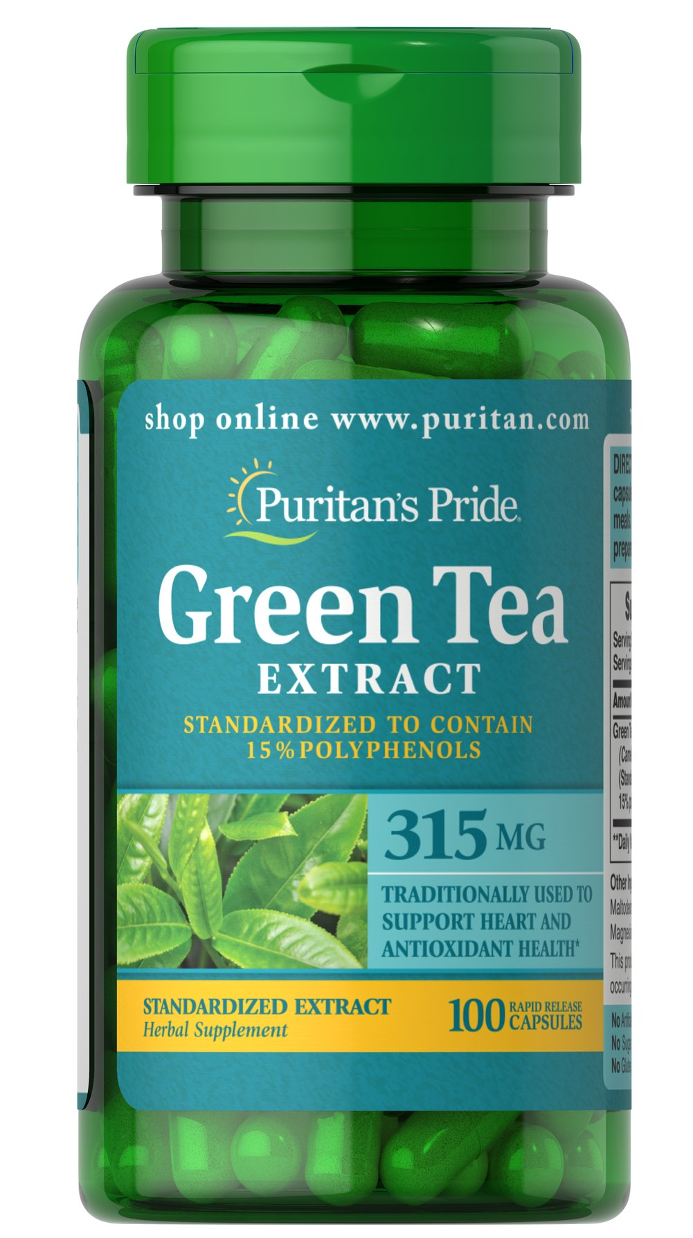 "Green Tea Standardized Extract 315 mg <p>Green Tea is a nutritional staple in Japan where it has been used for centuries. Green Tea contains beneficial flavonoids, which are natural phytochemicals that provide antioxidant support and health-enhancing properties.** Our ""non-irradiated"" Green Tea Extract contains naturally occurring EGCG.</p><p>Adults can take two capsules twice daily with meals. Capsules may be opened and prepared as a tea.</p> 100 Capsules 315 m"