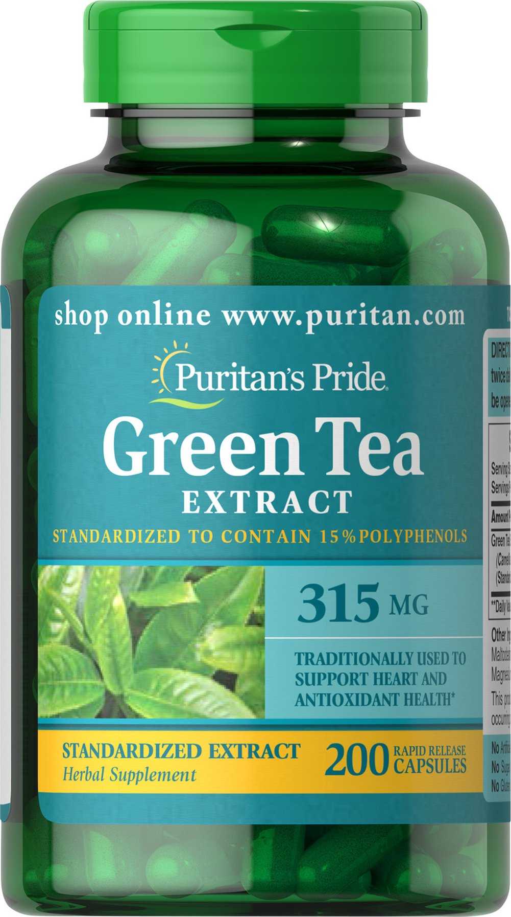 "Green Tea Standardized Extract 315 mg <p>Green Tea is a nutritional staple in Japan where it has been used for centuries. Green Tea contains beneficial flavonoids, which are natural phytochemicals that provide antioxidant support and health-enhancing properties.** Our ""non-irradiated"" Green Tea Extract contains naturally occurring EGCG.</p><p> Adults can take two capsules twice daily with meals. Capsules may be opened and prepared as a tea.</p> 200 Capsules 315"