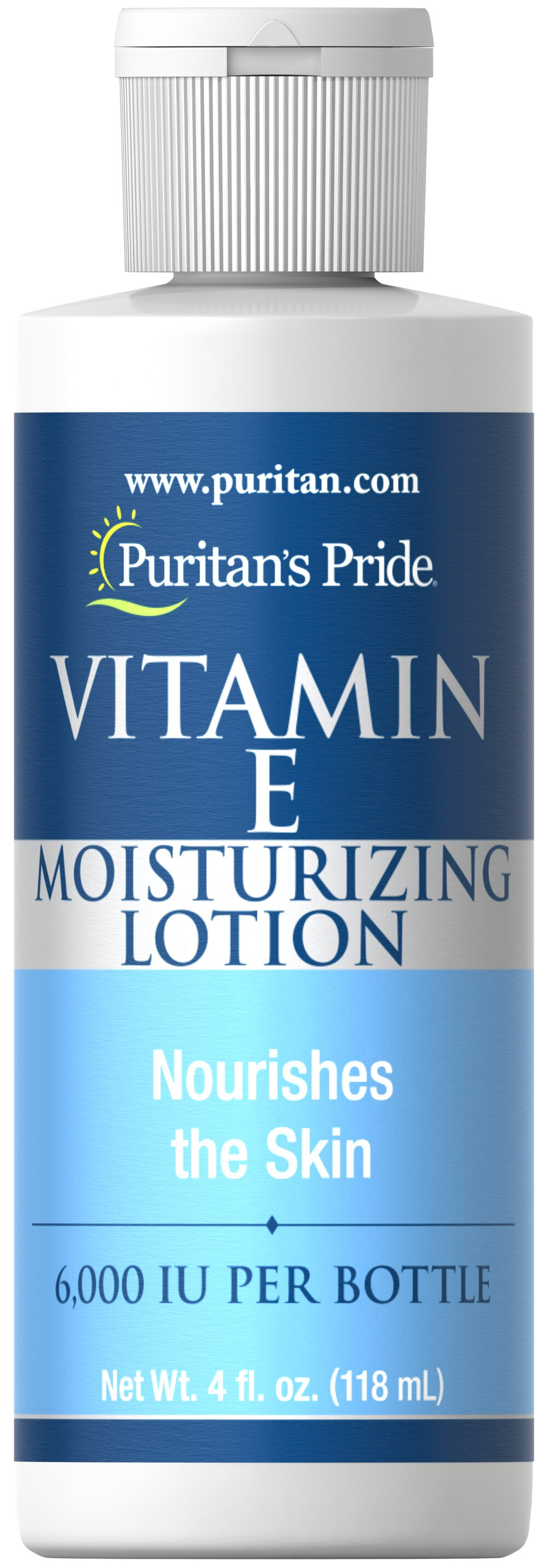 Vitamin E Moisturizing Lotion 6,000 IU <p>The All-Over Body Moisturizer</p>  <p>Now give your skin the natural benefits of Vitamin E Lotion. This rich lotion gives you 6,000 IU of Vitamin E per bottle with the added moisturizing benefits of natural Wheat Germ Oil. The protective emollient action maintains the natural moisture balance of the skin leaving even the driest skin smooth all over.</p> 4 oz Lotion 6000 IU $8.99