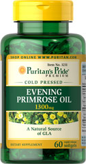 Evening Primrose Oil 1300 mg with GLA <p>For centuries, EPO has been used to provide nutritional support for women with premenstrual syndrome (PMS); it may also play a role in promoting smooth, healthy-looking skin.**</p><p>These easy-to-swallow softgels are a natural source of GLA (Gamma Linolenic Acid). Our EPO contains one of the most biologically active forms of this Omega-6 fatty acid available today.</p>  60 Softgels 1300 mg $17.49