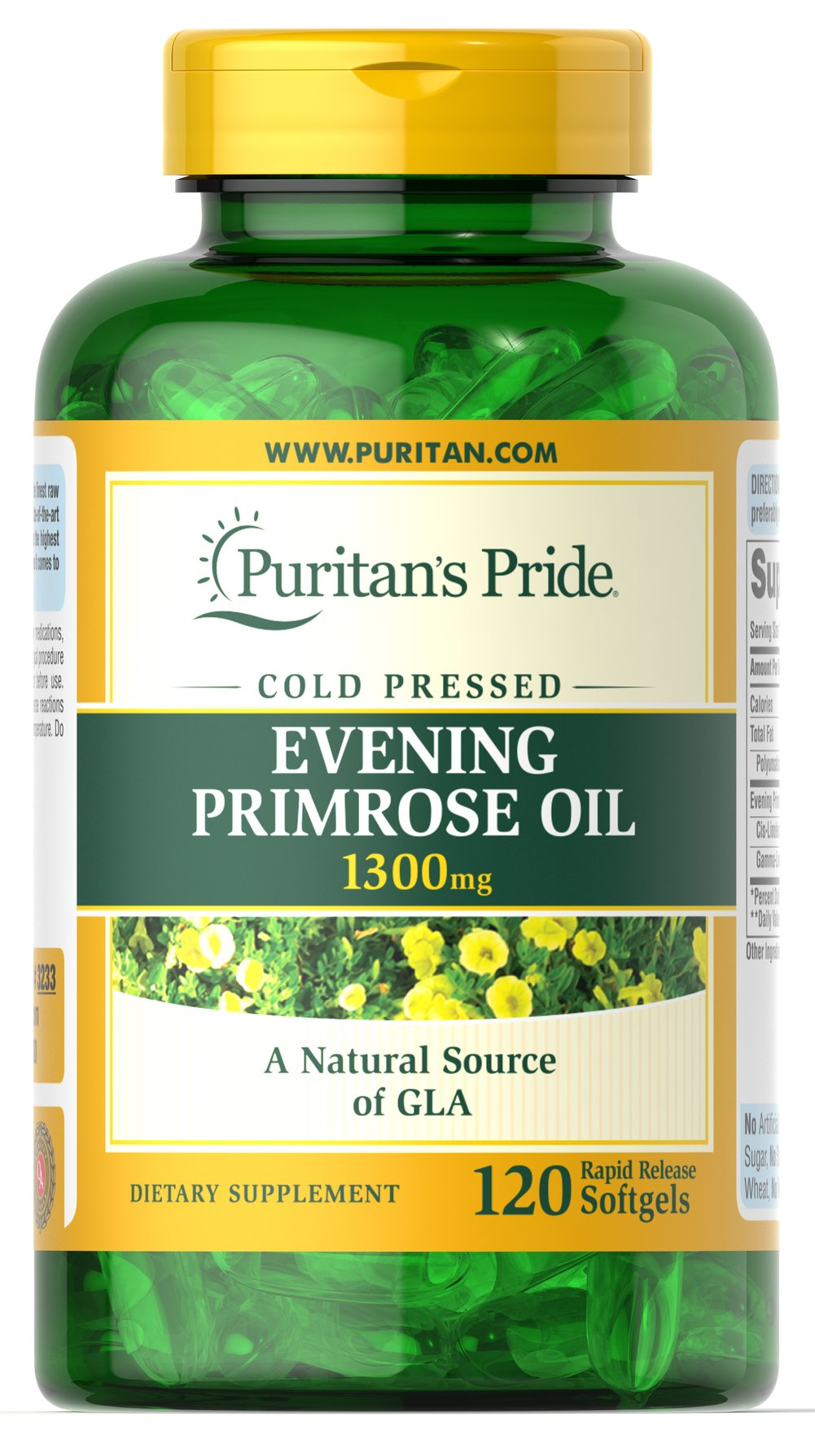 Evening Primrose Oil 1300 mg with GLA <p>For centuries, EPO has been used to provide nutritional support for women with premenstrual syndrome (PMS); it may also play a role in promoting smooth, healthy-looking skin.**</p><p>These easy-to-swallow softgels are a natural source of GLA (Gamma Linolenic Acid). Our EPO contains one of the most biologically active forms of this Omega-6 fatty acid available today.</p>  120 Softgels 1300 mg $30.99