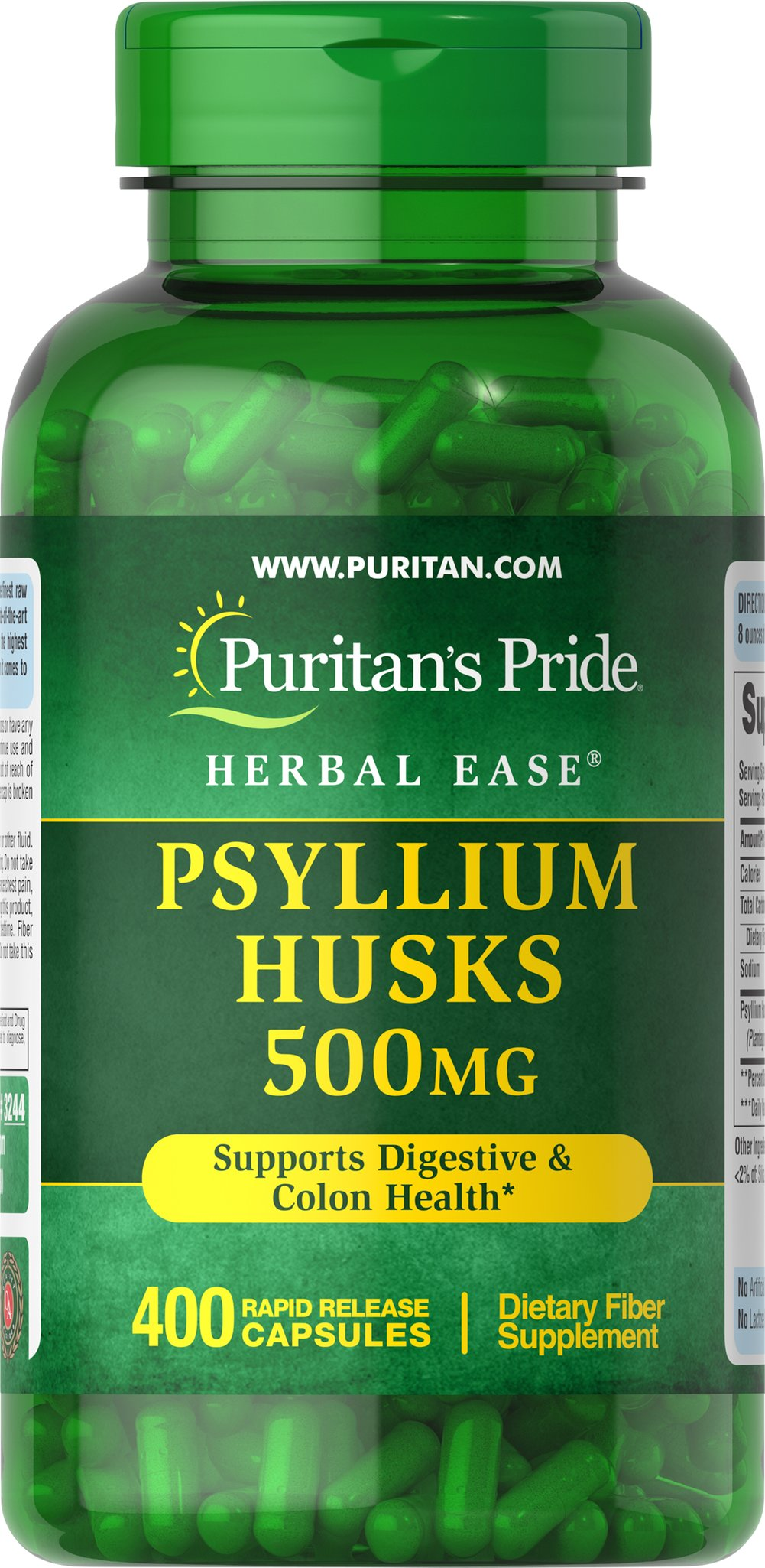 Psyllium Husks 500 mg <p>Psyllium Husks are a source of soluble fiber and a healthy addition to your diet. Our high-quality formula provides 1,000 mg of Psyllium seed husk per serving to support digestive and colon health.**</p>  400 Capsules 500 mg $31.99