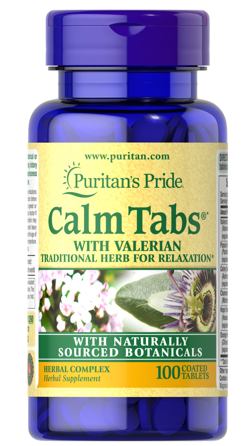 Calm Tabs® <p>Try Calm Tabs® for a relaxing way to wind down from a hectic day. With the stresses of everyday life, it is nice to come home to a relaxing, tranquil evening. Calm Tabs® is a unique blend of more than five herbal ingredients, including Valerian and Hops, that can complement a restful night, especially after a long, tension-filled day.** Use before bedtime or when you want an herbal supplement during relaxation.**</p> 100 Tablets  $7.99