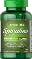 Spirulina 500 mg <p>Spirulina is a blue/green algae that can be found in the world's oceans and lakes.**</p><p>Our Spirulina's high quality 65% protein is thoroughly assimilated without the worry of cholesterol and fat that other protein sources may provide. Available in powder and tablets.</p> 200 Tablets 500 mg $23.99