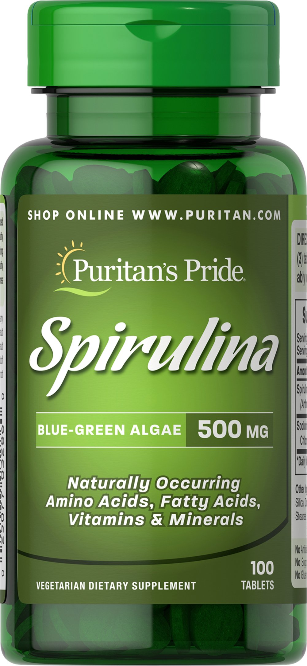 Spirulina 500 mg <p>Spirulina is a blue/green algae that can be found in the world's oceans and lakes.**</p><p>Our Spirulina's high quality 65% protein is thoroughly assimilated without the worry of cholesterol and fat that other protein sources may provide. Available in powder and tablets.</p> 100 Tablets 500 mg $9.79