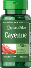 Cayenne (Capsicum) 450 mg <p>NATURALLY OCCURRING CAPSAICIN</p><p>Known as chili or red hot pepper, Cayenne may act as a catalyst for other herbs.  Native to tropical America, it has become a well-known ingredient in the cuisines of many parts of the world.  It has been extensively used in folk medicine.  Available in 450 (mg) Whole Herb Capsules.</p><ul><li>Puritan's Pride's preservative-free gelatin capsules contain pure milled herb powder.</li>