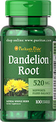 Dandelion Root 520 mg <p>TRADITIONALLY USED TO SUPPORT FLUID BALANCE** <br /></p>Though the Dandelion section most commonly used is the root, the leaves are often eaten raw in salads or lightly brewed to make tea. Capsules contain 520 mg of Dandelion Root (taraxacum officinale).**<p></p><ul><li>Puritan's Pride's preservative-free gelatin capsules contain pure milled herb powder.<br /></li><li>Puritan's Pride's Natural Wh
