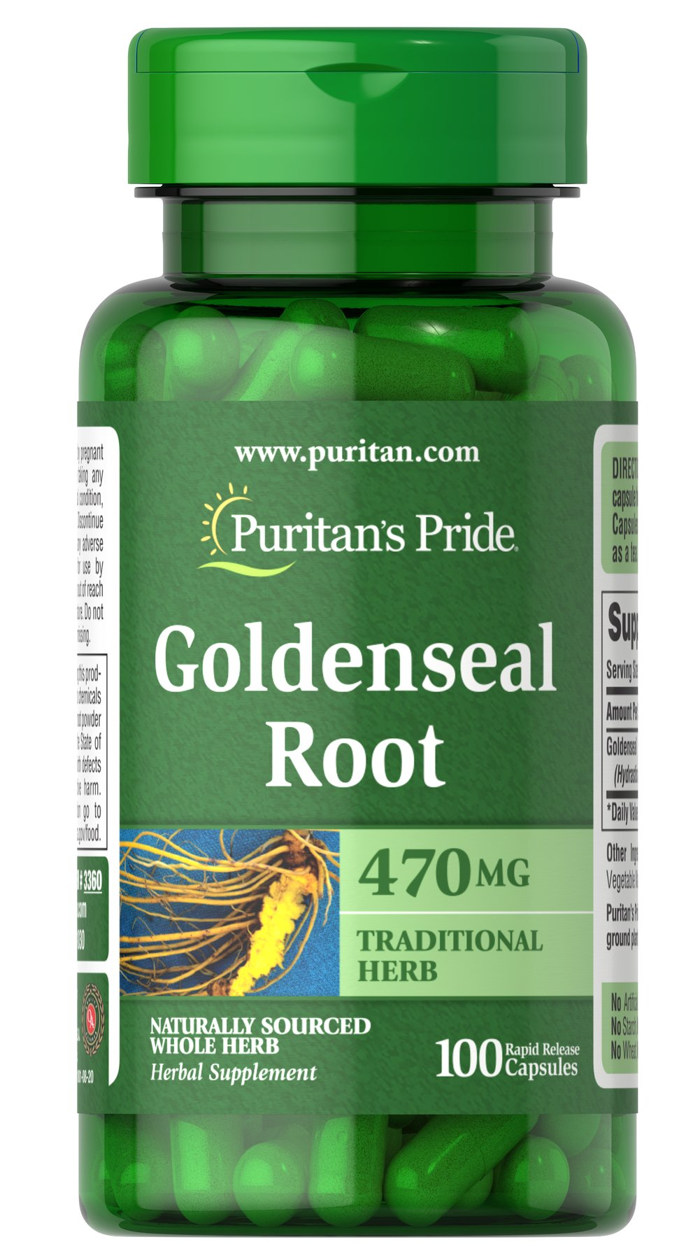 Goldenseal Root 470 mg <p>Helps maintain a healthy immune system**</p><p>Traditionally used for digestive tract health**</p><p>Natural whole herb++</p><p>Goldenseal contains important alkaloids, including hydrastine and berberine, which contribute to a healthy immune system.**</p><p>++Puritan's Pride's Natural Whole Herb products utilize ground plant parts to provide the natural components in the amounts found in nature.</p>  10