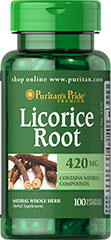 Licorice Root 420 mg <p>Licorice has a long and varied record of uses.  It was and remains one of the most important herbs in traditional Chinese medicine.  Available in (420 mg) Whole Herb Capsules.</p><p>Puritan's Pride's Natural Whole Herb products utilize ground plant parts to provide the natural components found in nature.</p><p>Puritan's Pride's preservative-free gelatin capsules contain pure milled herb powder.    &nbsp