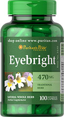 Eyebright 470 mg <p>Eyebright (Euphrasia officinalis) is a natural whole herb.</p><p>Provides traditional goodness from Mother Nature. </p><p>Available in 470 mg Whole Herb Capsules. </p> 100 Capsules 470 mg $9.99