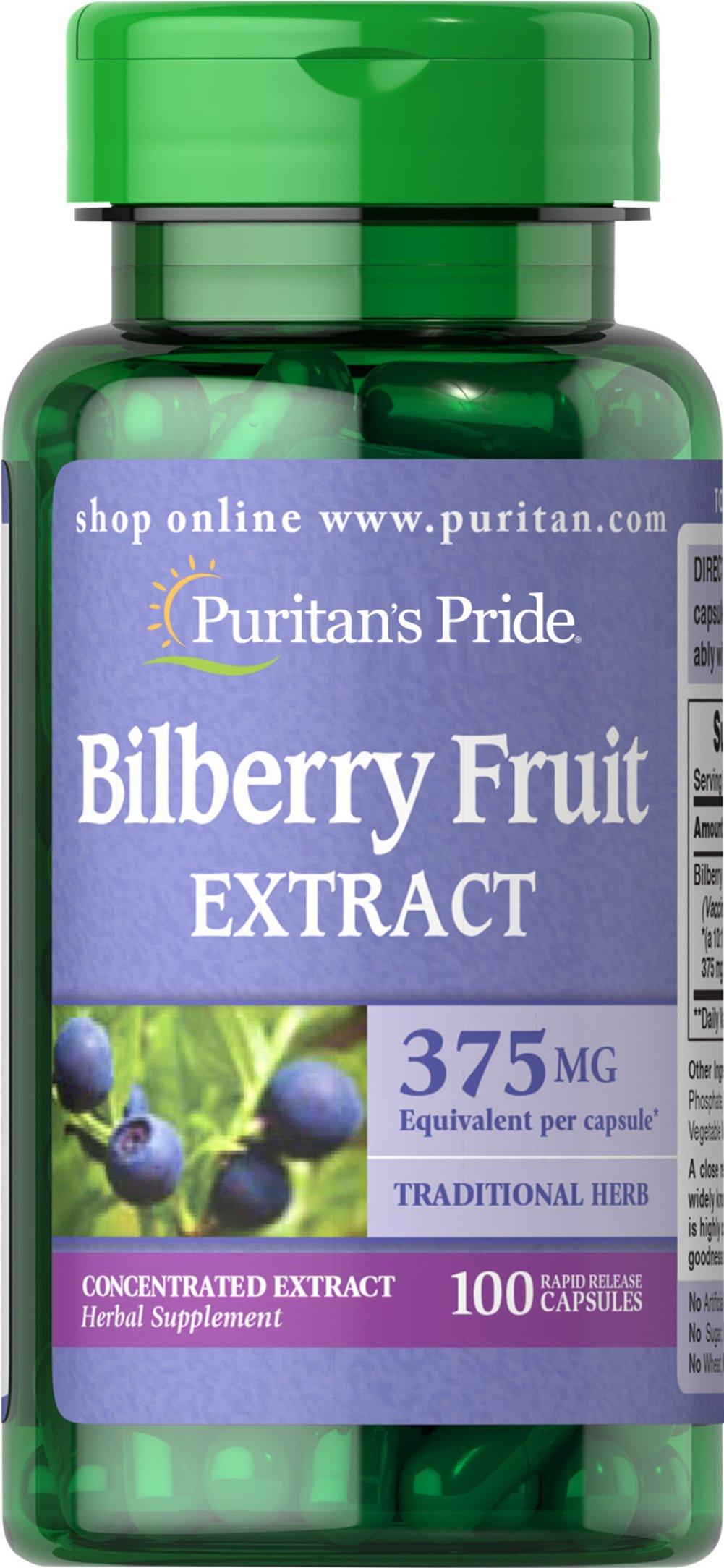 Bilberry 10:1 Extract 375 mg <p>Bilberry is a close relative of Blueberries. Our high-quality Bilberry contains over 15 different naturally-occurring anthocyanosides, which are flavonoids that contain beneficial antioxidant properties.** This formula contains 375 mg Bilberry (Vaccinium myrtillus) (fruit) (from 37.5 mg of 10:1 Extract).</p>  100 Capsules 375 mg $8.49
