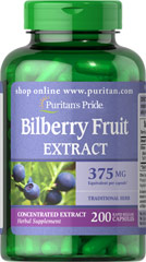 Bilberry 375 mg <p>Bilberry is a close relative of Blueberries. Our high-quality Bilberry contains over 15 different naturally-occurring anthocyanosides, which are flavonoids that contain beneficial antioxidant properties.** This formula contains 375 mg Bilberry (Vaccinium myrtillus) (fruit) (from 37.5 mg of 10:1 Extract).</p>  200 Capsules 375 mg $19.99