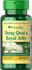 "Dong Quai & Royal Jelly <p>Puritan's Pride combines Dong Quai (often referred to as ""women's Ginseng"") with high quality Royal Jelly extract for a superior natural supplement.</p> 100 Capsules 200 mg/300 mg $16.49"