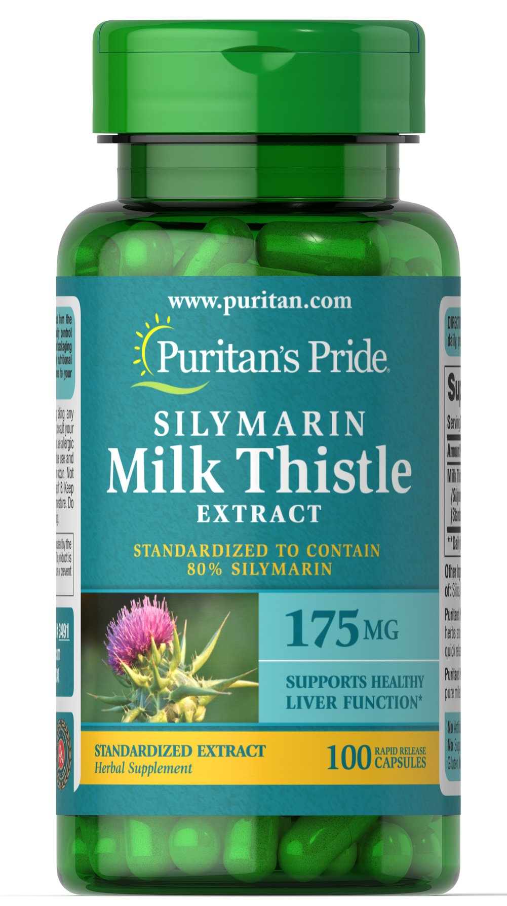 Milk Thistle Standardized 175 mg (Silymarin) <p>The exceptional benefits of Milk Thistle are due to its powerful antioxidant properties, which help to optimize health and well being.**</p><p>Puritan's Pride's Guarantee: We use only the finest quality herbs and spices. Each is screened and finely milled for quick release.<br /></p><p>Capsules may also be opened and prepared as a tea.</p> 100 Capsules 175 mg $11.99