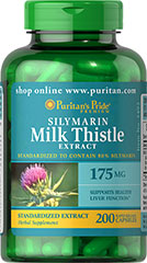 Milk Thistle Standardized 175 mg (Silymarin) <p>The exceptional benefits of Milk Thistle are due to its powerful antioxidant properties, which help to optimize health and well being.**</p><p>Capsules may also be opened and prepared as a tea.</p><p>Puritan's Pride's Guarantee: We use only the finest quality herbs and spices. Each is screened and finely milled for quick release. </p> 200 Capsules 175 mg $23.99