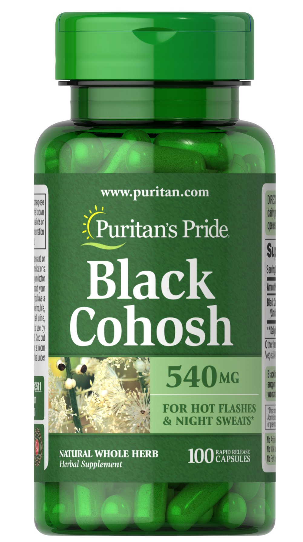 Black Cohosh 540 mg <p>Supports Menopausal Health**</p><p> As one of the leading herbs for women's health, Black Cohosh is famous for its ability to promote menopausal health.** Black Cohosh helps support the physical changes that occur in a woman's body over time.**</p><p></p> 100 Capsules 540 mg $10.48
