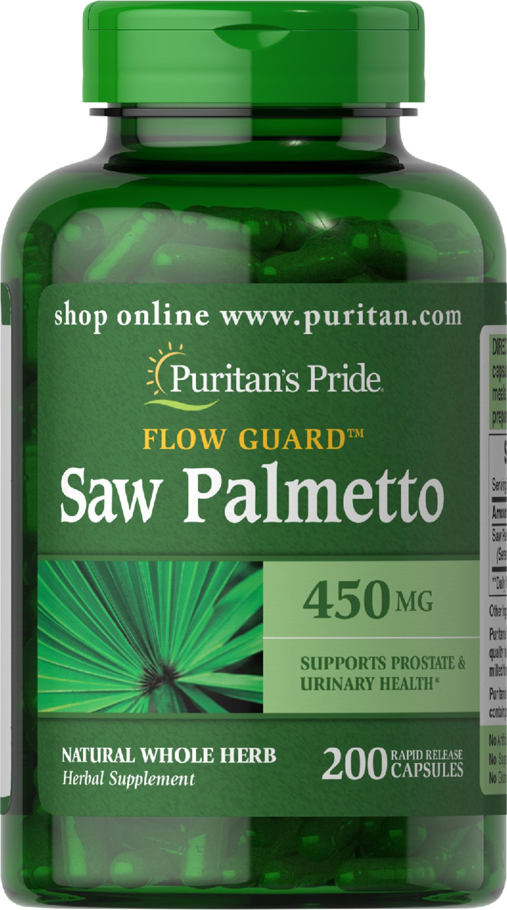 Saw Palmetto 450 mg <p>Men the world over are discovering the beneficial properties of Saw Palmetto. Saw Palmetto is the leading herb for men's health.** Saw Palmetto contains phytochemicals, which support prostate and urinary health in men.**</p><p>Our Saw Palmetto formula is fully assayed and tested. This means that you receive a dietary supplement that is superior in purity and quality.</p> 200 Capsules 450 mg $12.99