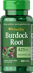 Burdock Root 425 mg <p>Burdock Root has been revered down through the centuries as one of nature's best purifiers.  Ancient English herbalists used Burdock and modern herbalists view it as a helpful herb which can be used both internally and externally.  Burdock is grown in Europe and the United States.  Available in (425 mg) whole herb capsules.</p><ul><li>Puritan's Pride's preservative-free gelatin capsules contain pure milled herb powder.</li><li>Purita