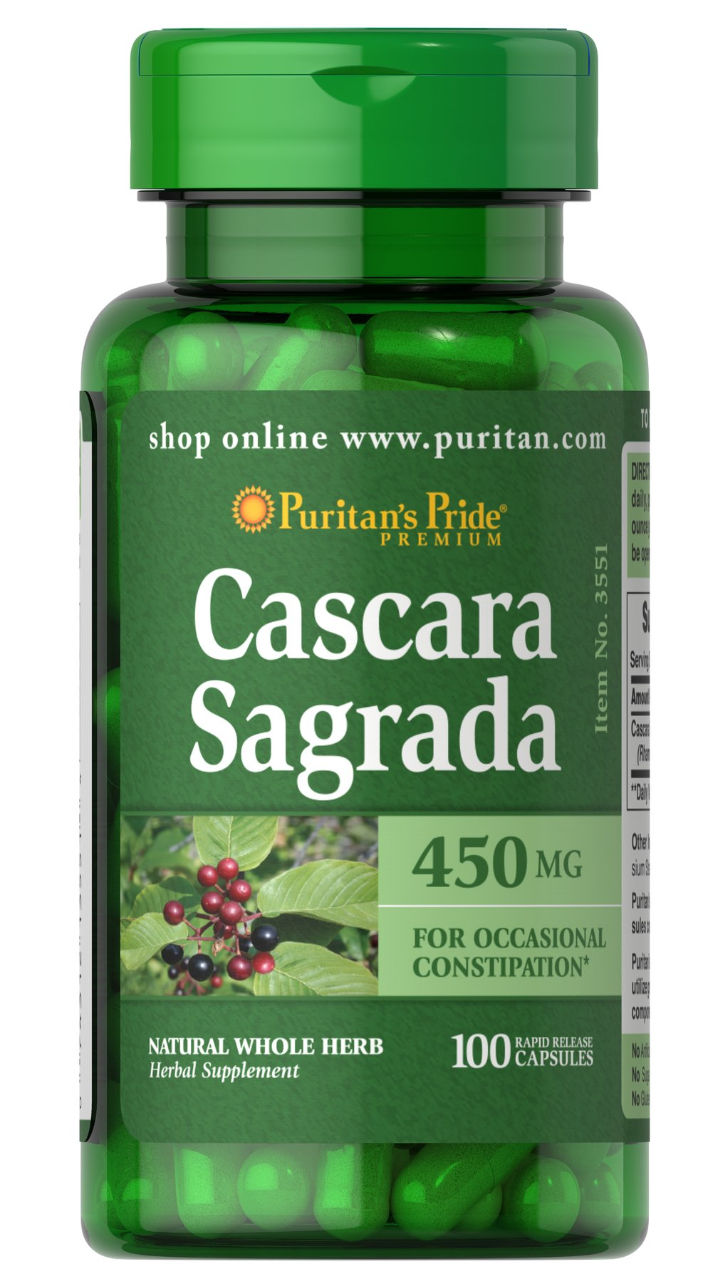 Cascara Sagrada 450 mg  100 Capsules 450 mg $7.99