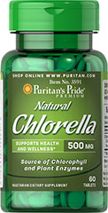 Natural Chlorella 500 mg <p>Health-conscious consumers are getting back to basics and that is one of the reasons that Chinese algae is all the rage. Chlorella is a single-celled green micro-algae that contains the phytonutrient Chlorophyll, the element in plants that captures the sun's rays. Chinese Chlorella is a natural trace source of protein and plant enzymes to support overall health and wellness.** </p> 60 Tablets 500 mg $8.29