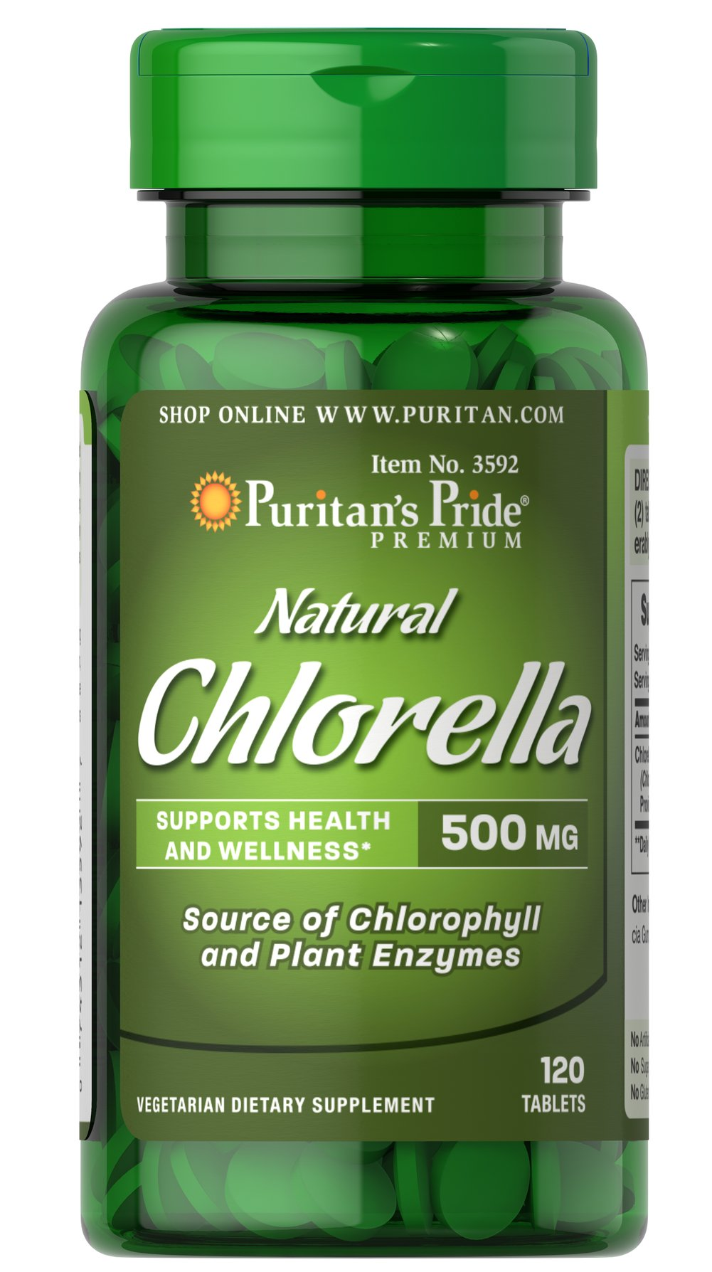 Natural Chlorella 500 mg <p>Health-conscious consumers are getting back to basics and that is one of the reasons that Chinese algae is all the rage. Chlorella is a single-celled green micro-algae that contains the phytonutrient Chlorophyll, the element in plants that captures the sun's rays. Chinese Chlorella is a natural trace source of protein and plant enzymes to support overall health and wellness.** </p> 120 Tablets 500 mg $15.39