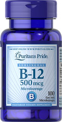 Vitamin B-12 500 mcg Sublingual <p>Puritan's Pride's unique B-12  lozenges and dots deliver essential B vitamins for energy metabolism in the body.** Vitamin B-12 is also essential for the normal formation of blood cells, contributes to the health of the nervous system, and helps maintain circulatory health.** Adults can take one lozenge or dot daily with a meal. Place lozenge or dot under tongue for 30 seconds before swallowing.</p> 100 Microlozenges 500 mcg $9.29