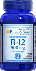 Vitamin B-12 500 mcg Sublingual <p>Puritan's Pride's unique B-12  lozenges and dots deliver essential B vitamins for energy metabolism in the body.** Vitamin B-12 is also essential for the normal formation of blood cells, contributes to the health of the nervous system, and helps maintain circulatory health.** Adults can take one lozenge or dot daily with a meal. Place lozenge or dot under tongue for 30 seconds before swallowing.</p> 200 Microlozenges 500 mcg $14.99
