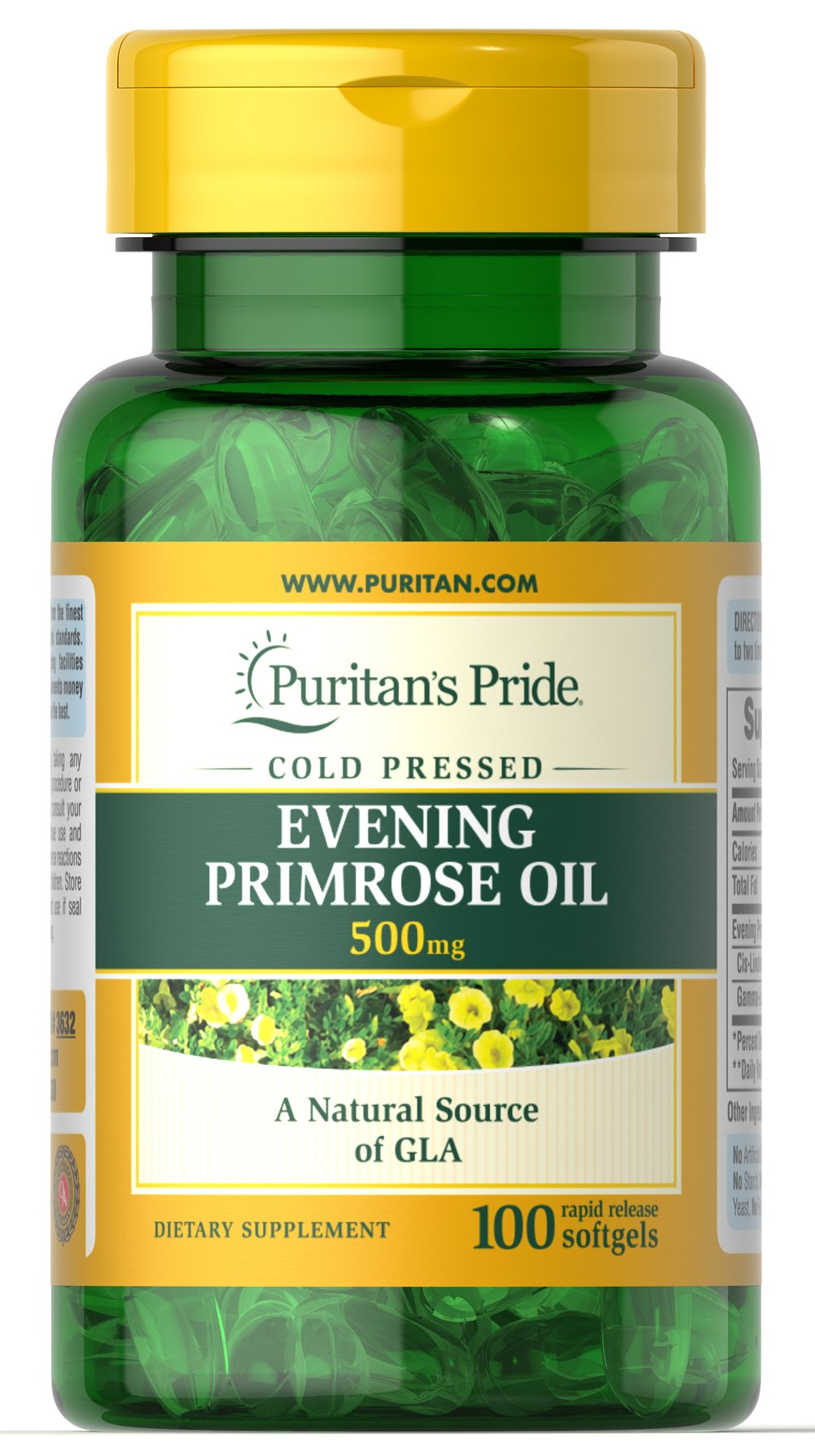 Evening Primrose Oil 500 mg with GLA  100 Softgels 500 mg $9.79