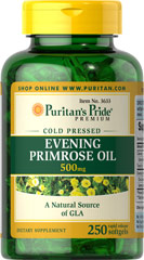 Evening Primrose Oil 500 mg with GLA <p>For centuries, EPO has been used to provide nutritional support for women with premenstrual syndrome (PMS); it may also play a role in promoting smooth, healthy-looking skin.**</p><p>These easy-to-swallow softgels are a natural source of GLA (Gamma Linolenic Acid). Our EPO contains one of the most biologically active forms of this Omega-6 fatty acid available today.</p>  250 Softgels 500 mg $28.99