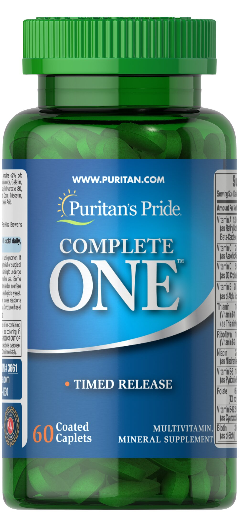 Puritan's Pride One™ Multivitamins Timed Release <p>Special multivitamins formula with beta-carotene. Each easy-to-swallow tablet provides: 28 essential nutrients, long acting B-Complex and C Vitamins, plus 13 Essential Minerals including Chromium, Selenium and Zinc.</p> 60 Caplets  $11.99