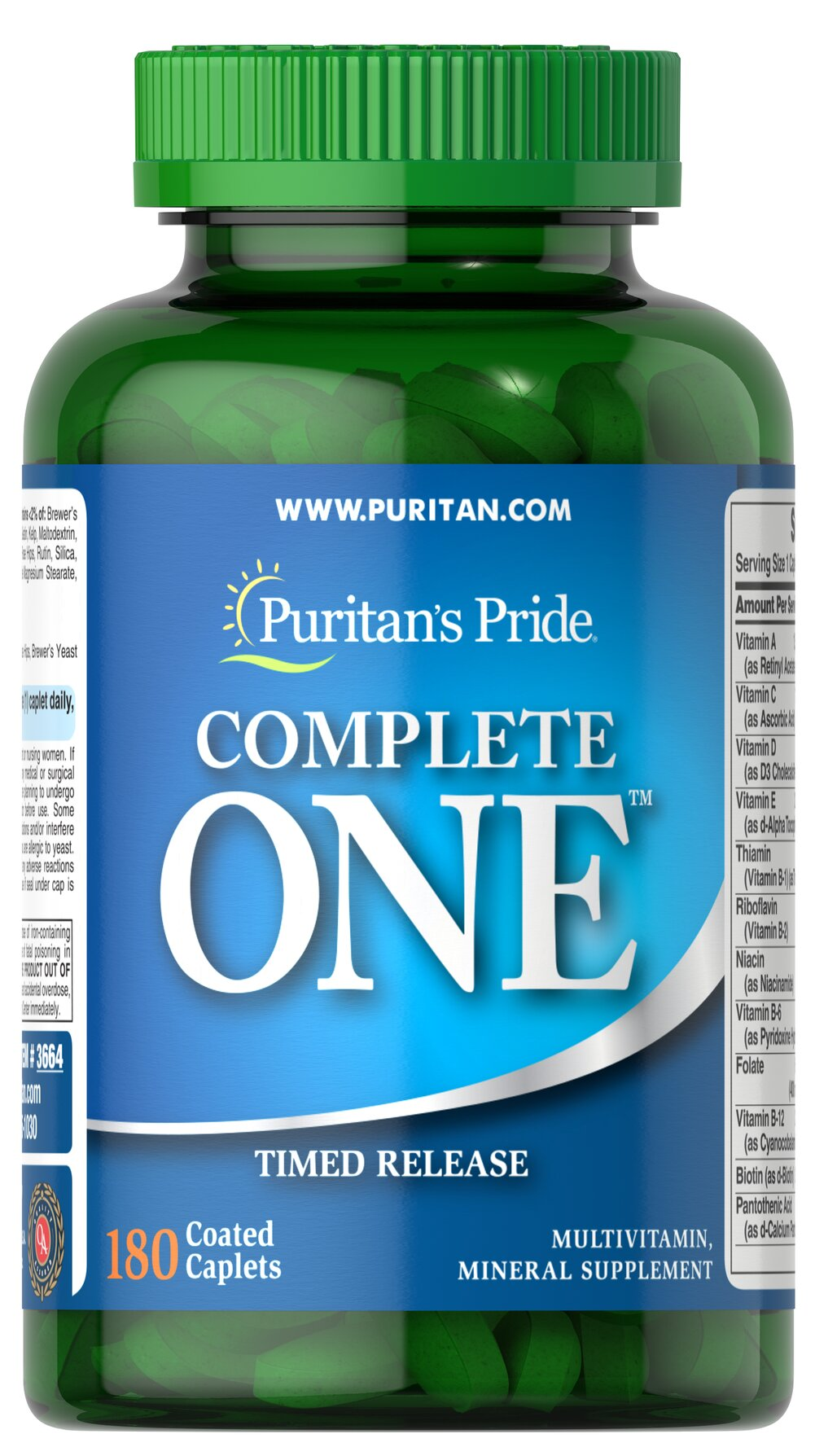 Puritan's Pride One™ Multivitamins Timed Release <p>Special multivitamins formula with beta-carotene. Each easy-to-swallow tablet provides: 28 essential nutrients, long acting B-Complex and C Vitamins, plus 13 Essential Minerals including Chromium, Selenium and Zinc.</p> 180 Caplets  $33.99