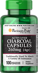 Charcoal (Activated) 260 mg <p>Charcoal has been used as a digestive aid for centuries**</p><p>As a natural deodorizer, activated Charcoal is able to absorb a variety of substances**</p><p>Charcoal is a supplement commonly taken after meals</p><p>Rapid release capsules disperse quickly into your system</p> 100 Capsules 260 mg $8.99