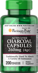 Charcoal (Activated) 260 mg <p>Charcoal has been used as a digestive aid for centuries**</p> <p>As a natural deodorizer, activated Charcoal is able to absorb a variety of substances**</p> <p>Charcoal is a supplement commonly taken after meals</p> <p>Rapid release capsules disperse quickly into your system</p> 200 Capsules 260 mg $17.49