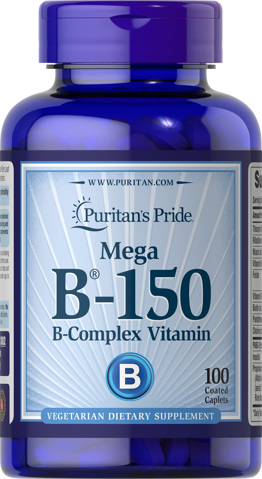 Vitamin B-150™ Complex <p>B your best with our high-quality B-150™ Complex. The B Vitamins are made up of several essential nutrients that provide nourishment for the stress of daily living.** Each nutrient in the B Vitamin Complex performs a unique role in maintaining proper metabolic functioning and is essential for well being.**</p> <p>This product delivers B-1, B-2, B-6, B-12, Biotin, Folic Acid, Niacin, Inositol, PABA, Pantothenic Acid and Choline Bitartrate.</p> 100