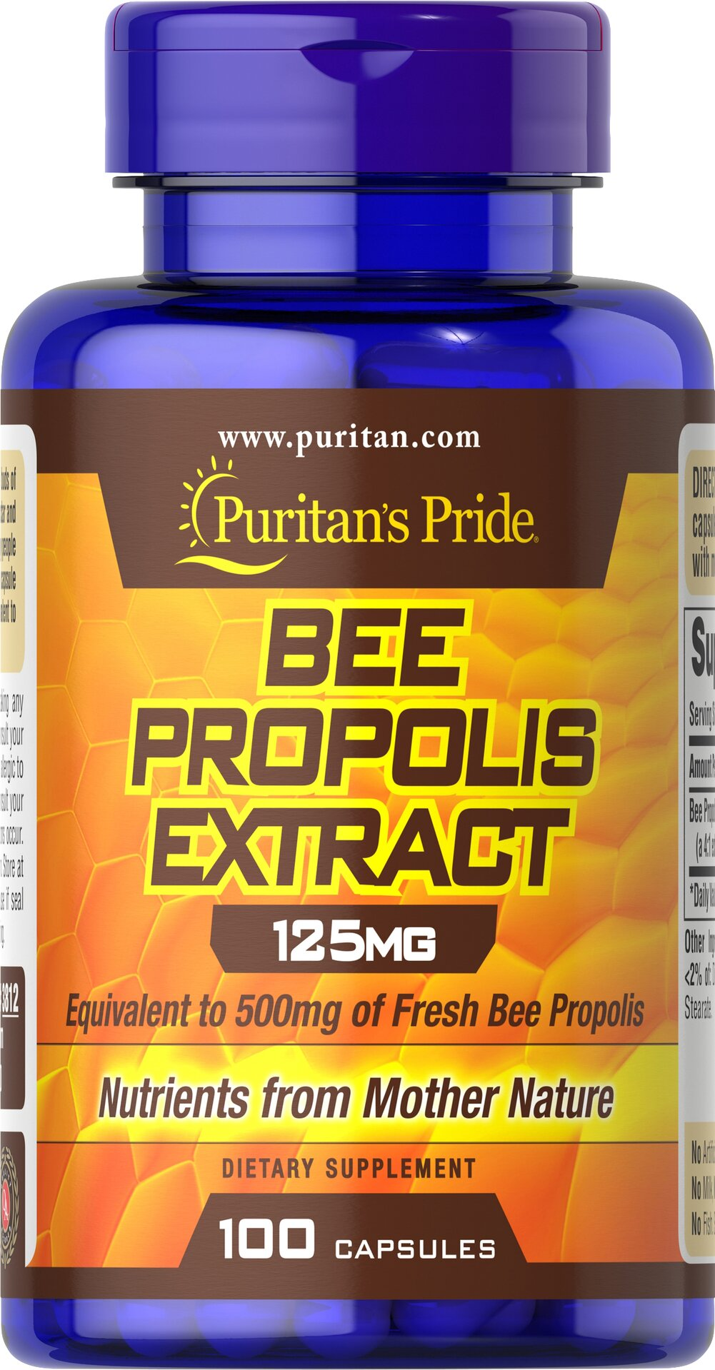 Bee Propolis 500 mg <p>Once again, the amazing Bee has provided us with a beneficial natural food supplement rich in flavonoids, amino acids, vitamins and minerals.  Puritan's Pride offers you high quality natural Bee Propolis at incredible savings.</p> 100 Capsules 500 mg $10.48