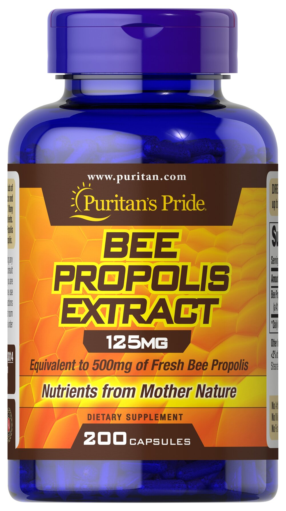 Bee Propolis 500 mg <p>Once again, the amazing Bee has provided us with a beneficial natural food supplement rich in flavonoids, amino acids, vitamins and minerals.  Puritan's Pride offers you high quality natural Bee Propolis at incredible savings.</p> 200 Capsules 500 mg $20.79